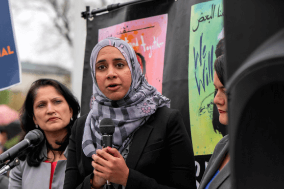 Zahra Billoo executive director of the San Francisco Bay Area chapter of the Council on American Islamic Relations (CAIR) speaking outside the Supreme Court after oral arguments on Trump's latest Muslim Ban (Photo: Lorie Shaull)