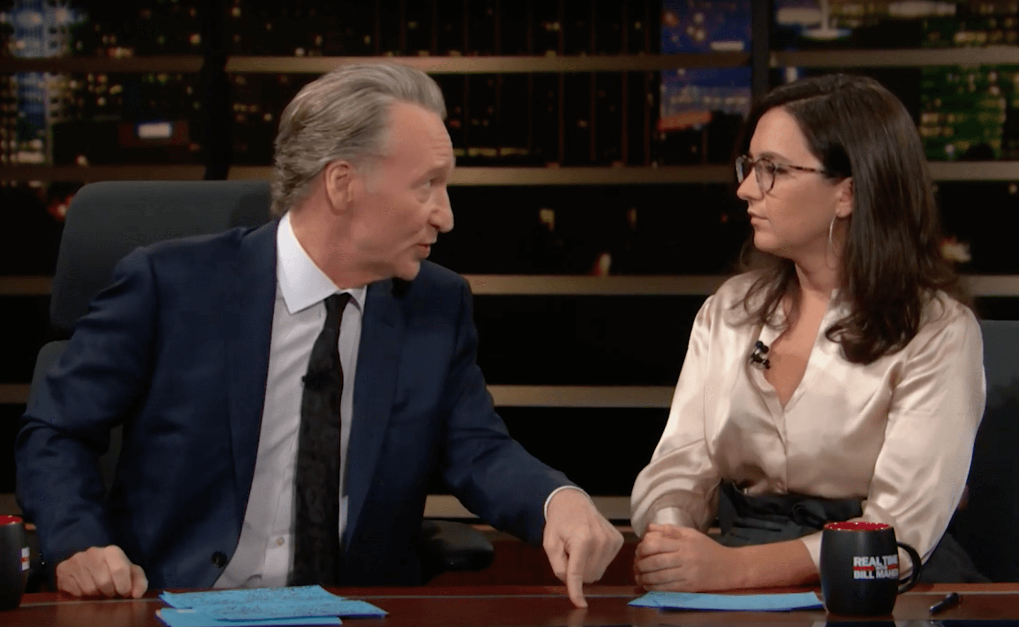 Bill Maher and Bari Weiss on an episode of Real Time with Bill Maher that aired September 13, 2019.
