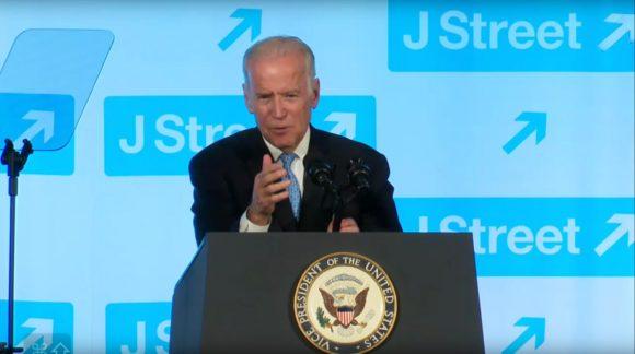 Joe Biden speaks at the 2016 JStreet conference.