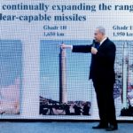 Benjamin Netanyahu claiming Iran was expanding its nuclear capability in violation of the Iran Deal in April 2018.