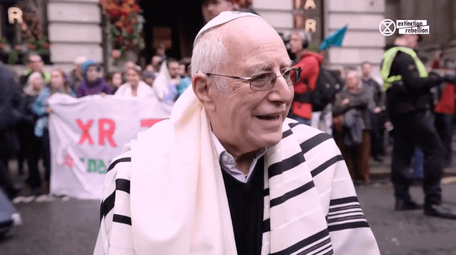 Still of Rabbi Jeffrey Newman at Extinction Rebellion protest, London 2019 (Video: Extinction Rebellion)