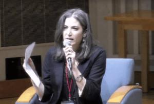 Batya Ungar-Sargon reads speech at Bard College, Oct. 11, 2019. Screenshot from video.
