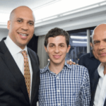Cory Booker and Gilad Shalit (c) at Yale in 2012. Screenshot from video posted by Shabtai. Man on right is not identified.