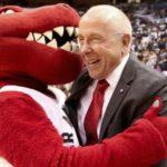 Toronto Raptors co-owner Larry Tanenbaum with the Raptors mascot.