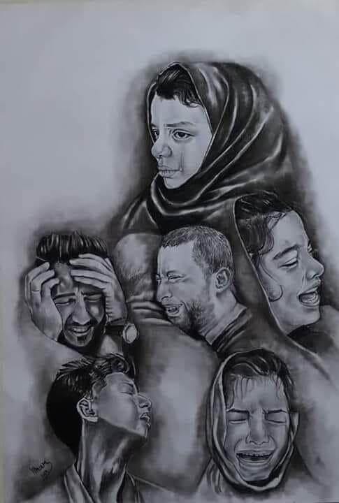 A drawing by Elham Al Astal