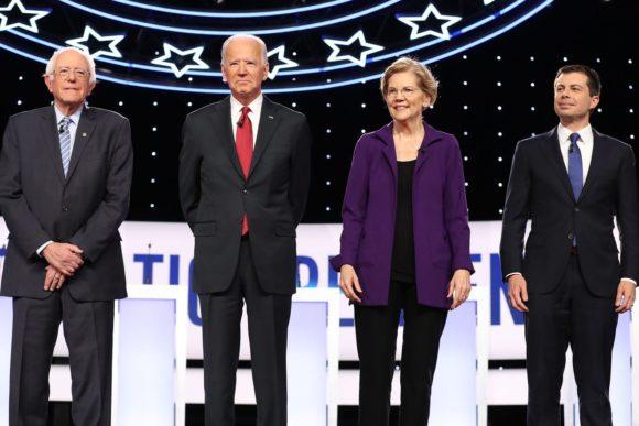 Bernie Sanders, Joe Biden, Elizabeth Warren, and Pete Buttigieg at the Democratic debate held in Westerville, OH in October 2019. (Photo: Chip Somodevilla/Getty)