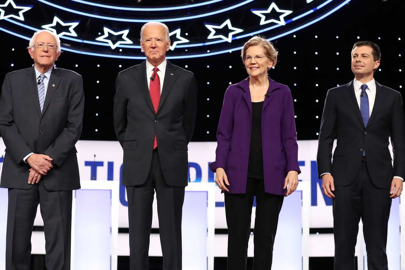 Bernie Sanders, Joe Biden, Elizabeth Warren, and Pete Buttigieg at the Democratic debate held in Westerville, OH in October 2019. (Photo: Chip Somodevilla/Getty)
