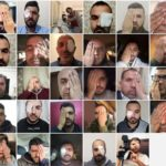 A photo of people covering their eye in solidarity with Muath Amarneh, a Palestinian photojournalist shot in the face by Israeli forces while covering a protest in the West Bank.
