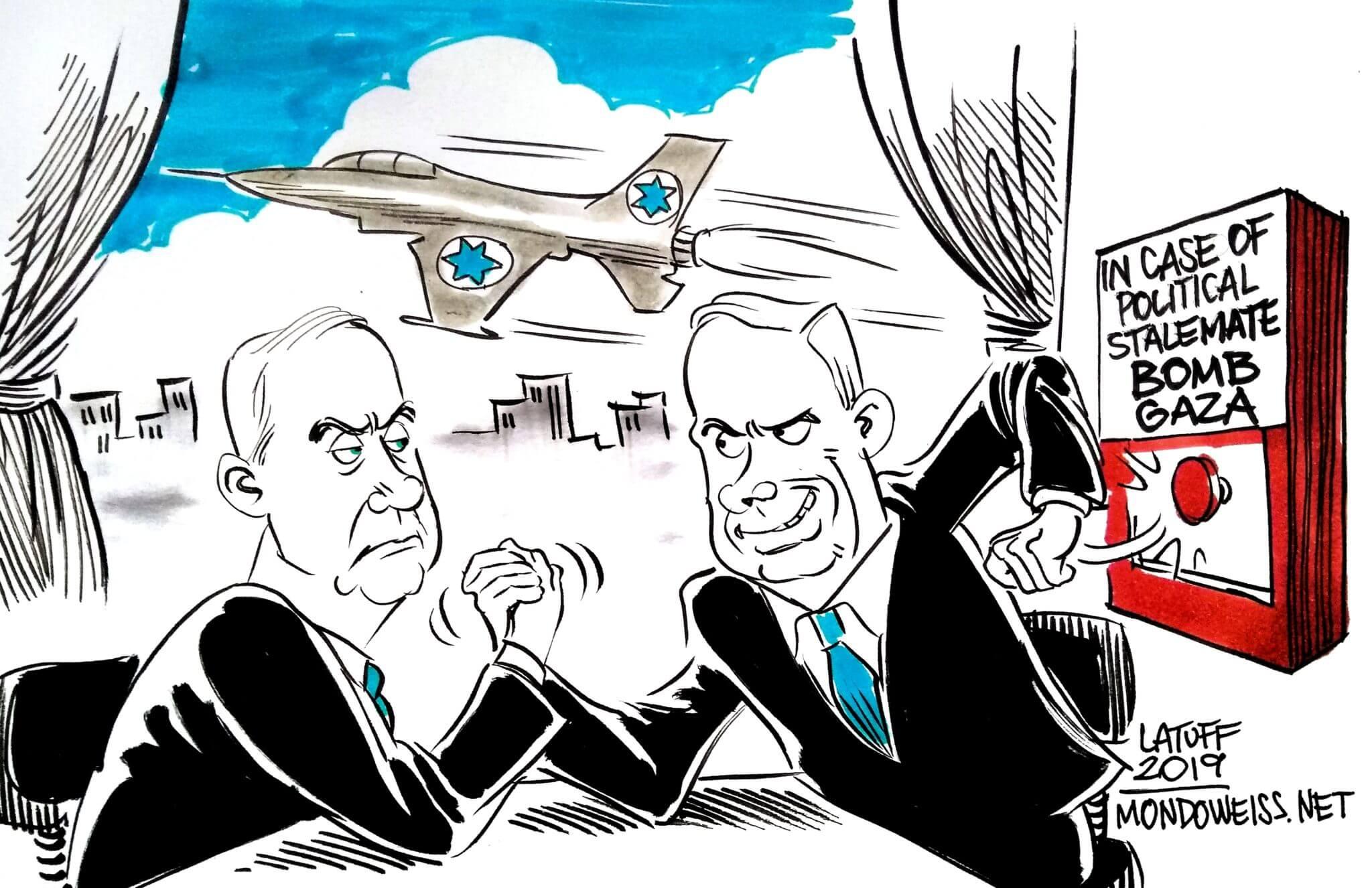 In the battle between Netanyahu and Gantz, Gaza pays the price. (Cartoon: Carlos Latuff)