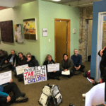 Activists occupy Re. Jan Schakowsky's office. (Photo: US Palestinian Community Network Twitter)