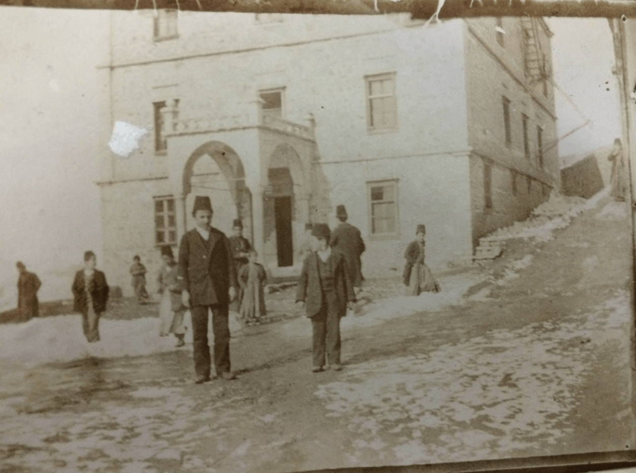 Armenian boys outside a school. The Ottoman-era photograph is kept by Sophia's mother under her bed in a shoebox.