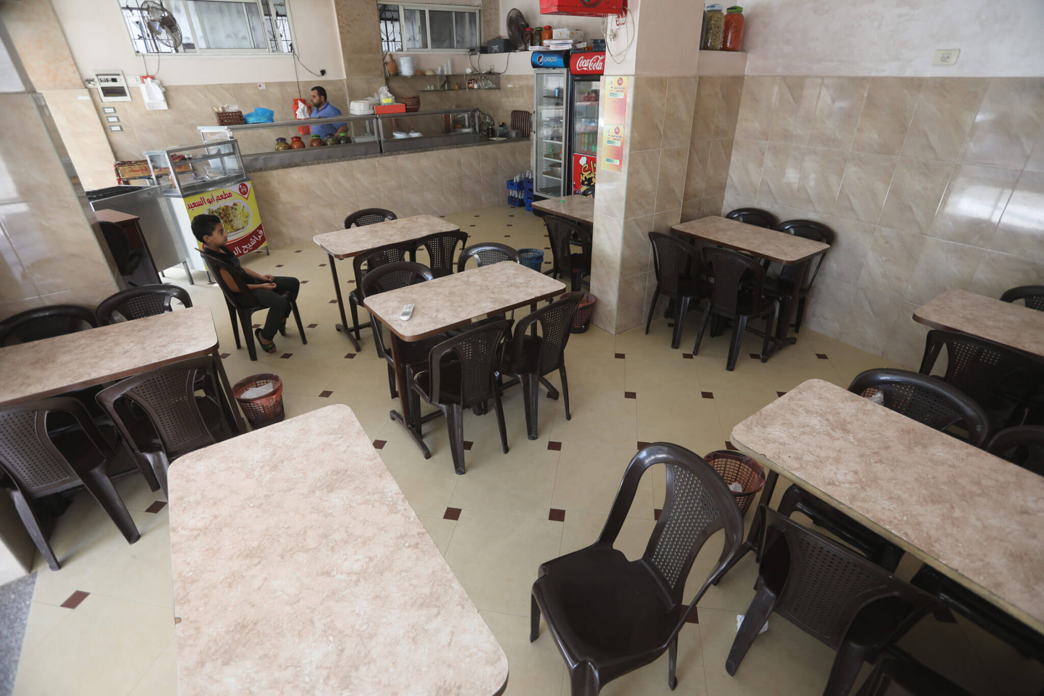 One of the most popular falafel and hummus restaurants in Gaza is supposed to be full of customers in the morning