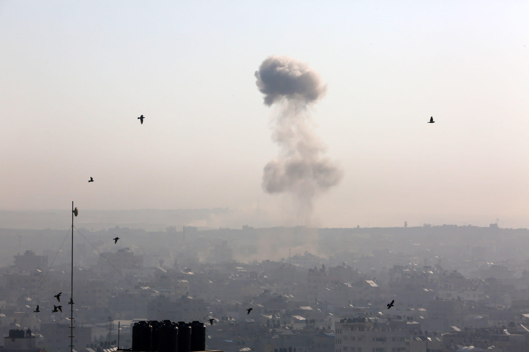 Smoke rises after an Israeli airstrike on Gaza City, November 12, 2019. (Photo: by Mohammed Zaanoun / Activestills.org)