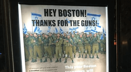 'Hey Boston! Thanks for the guns!' Guerrilla ads oppose U.S. aid to Israel