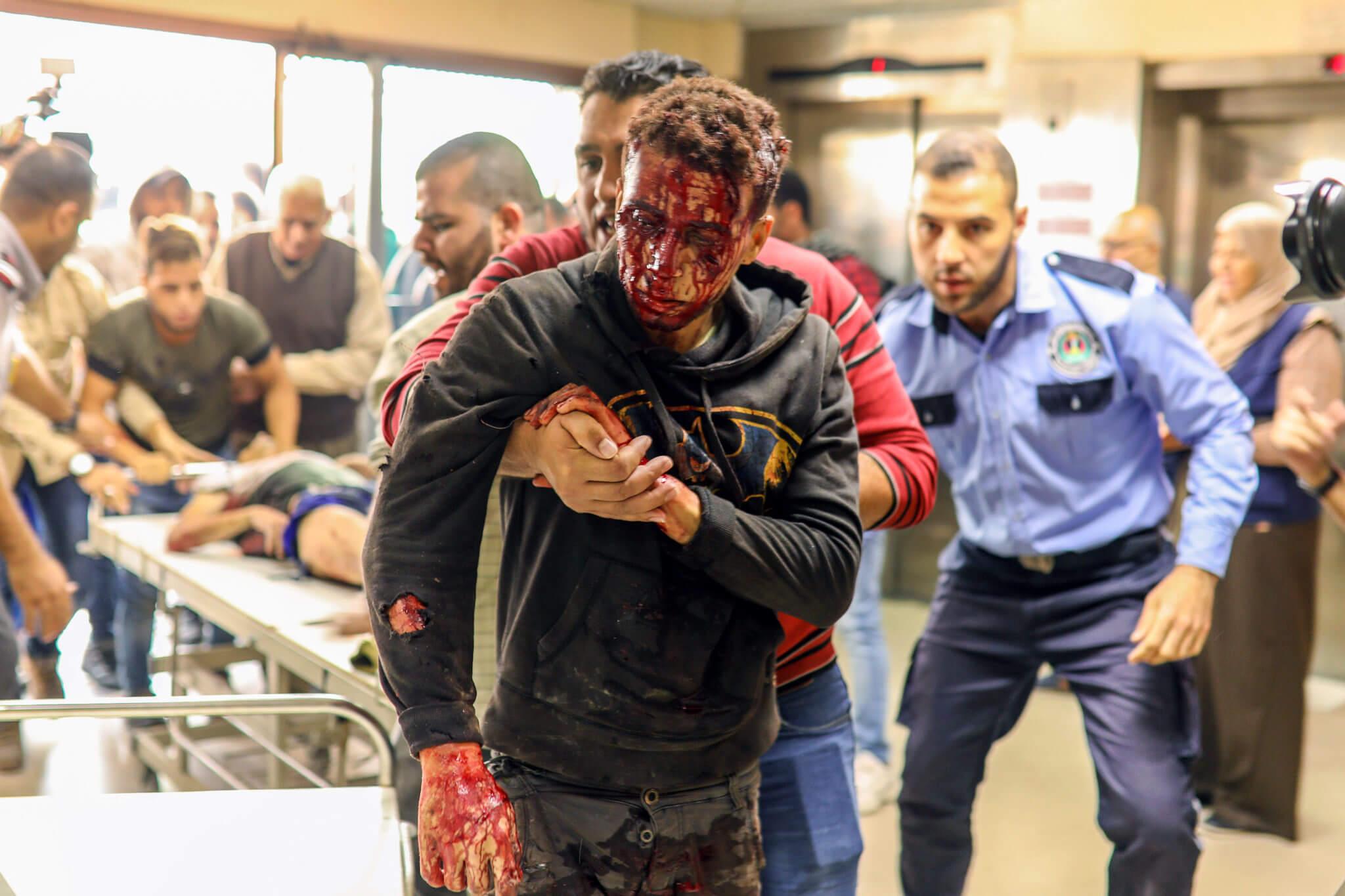 Scenes at Al-Shifa' Hospital (Photo: Mohammed Zaanoun / Activestills.org)