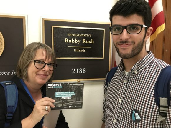 Jennifer Bing and Yazan Meqbil visit Rep. Bobby Rush's office as part of the No Way To Treat A Child campaign.