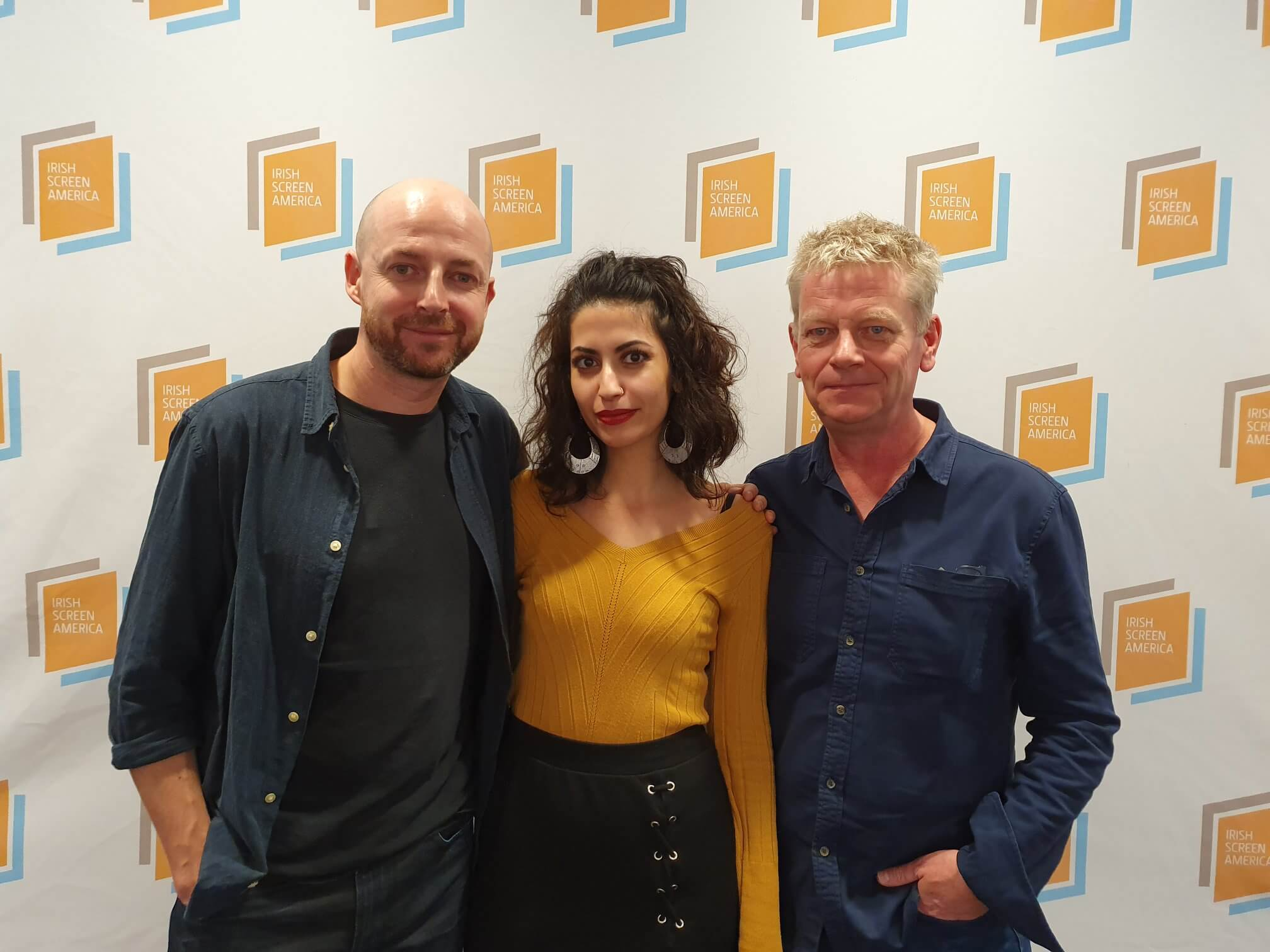 """Andrew McConell (L), Walaa Ghussein (C), and Garry Keane (R) at a New York City screening of """"Gaza,"""" October 27, 2019. (Photo: Facebook/The Irish Screen America)"""
