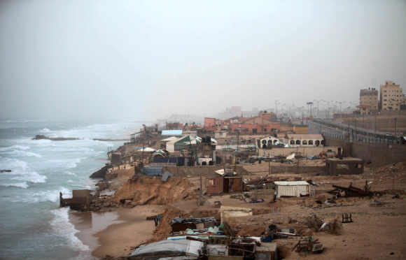 A picture taken on January 13, 2019, shows the beach of Gaza city during a stormy day. (Photo: Mahmoud Ajjour/APA Images)