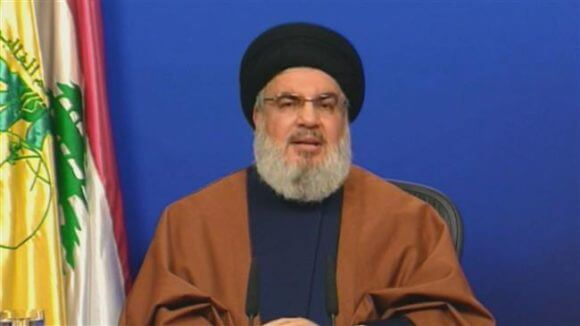Hassan Nasrallah of Hezbollah featured on Iranian television, Dec. 2019, speaking of resistance to American and Israeli plans in the Middle East. Dec. 2019.