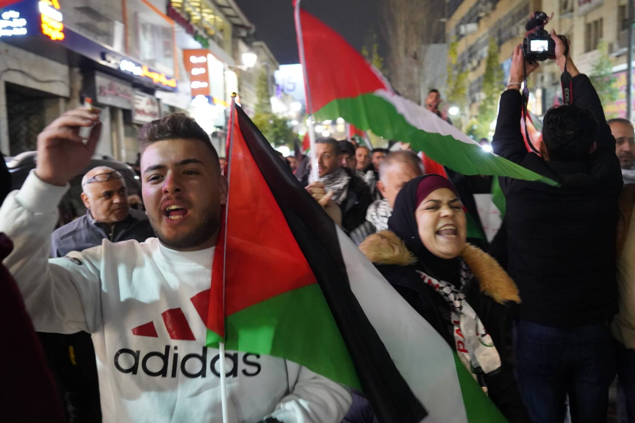 Palestinians protesting in Ramallah on Tuesday night as President Trump unveiled his peace plan to the world