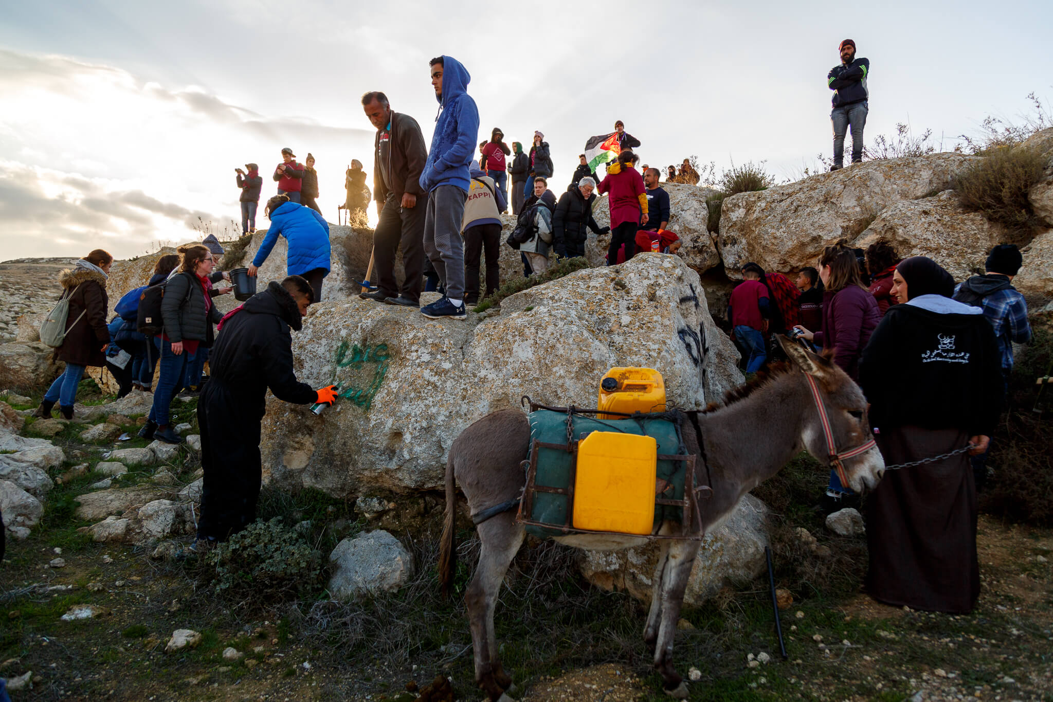Palestinians and activists gather by Ein al-Beida in the South Hebron Hills, accessing the natural spring for a first time in a decade and a half after it was confiscated by a nearby Israeli outpost. (Photo: Miriam Deprez)