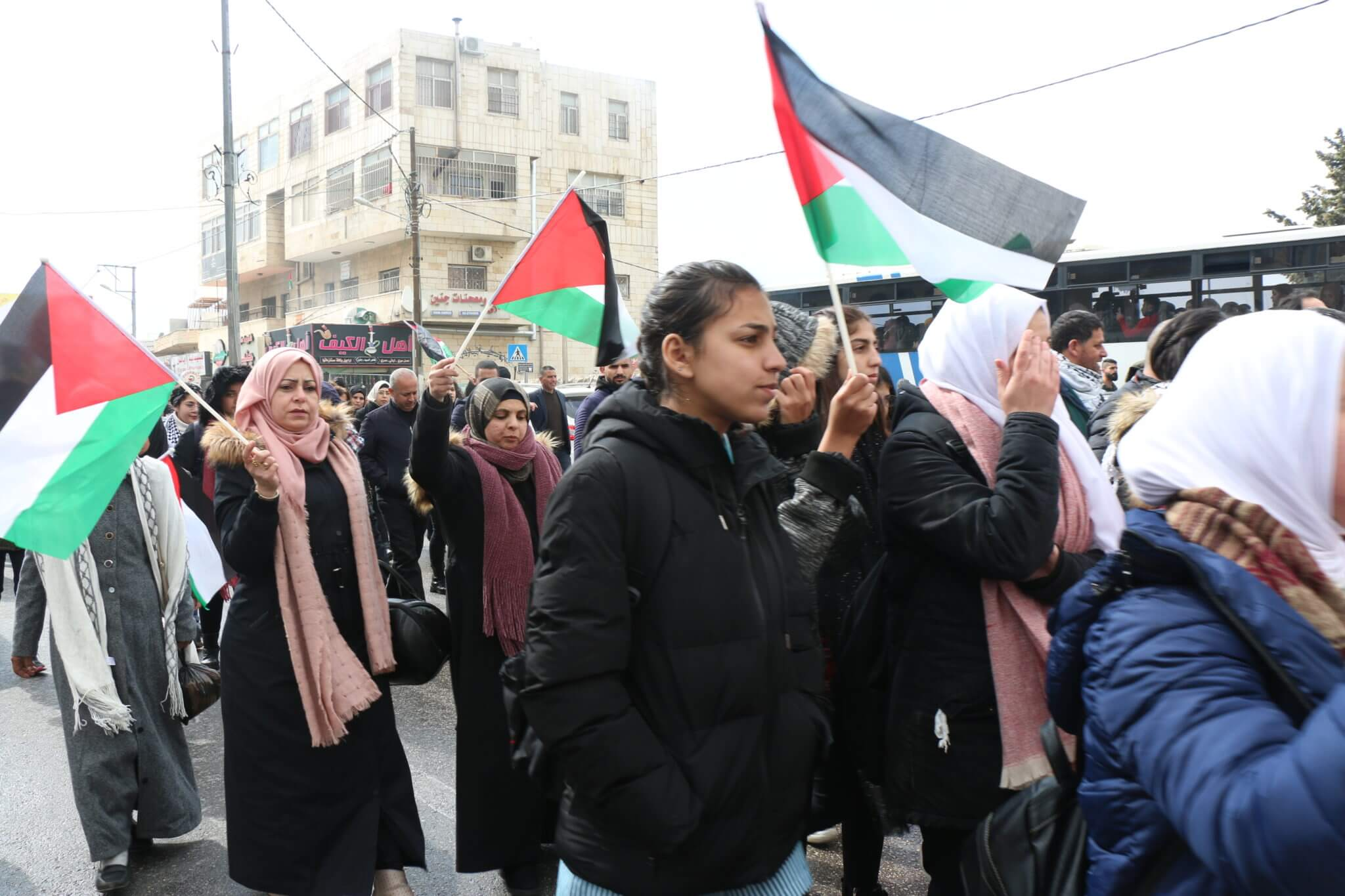 Palestinian women protesting in Bethlehem against the US peace plan (Photo: Yumna Patel)