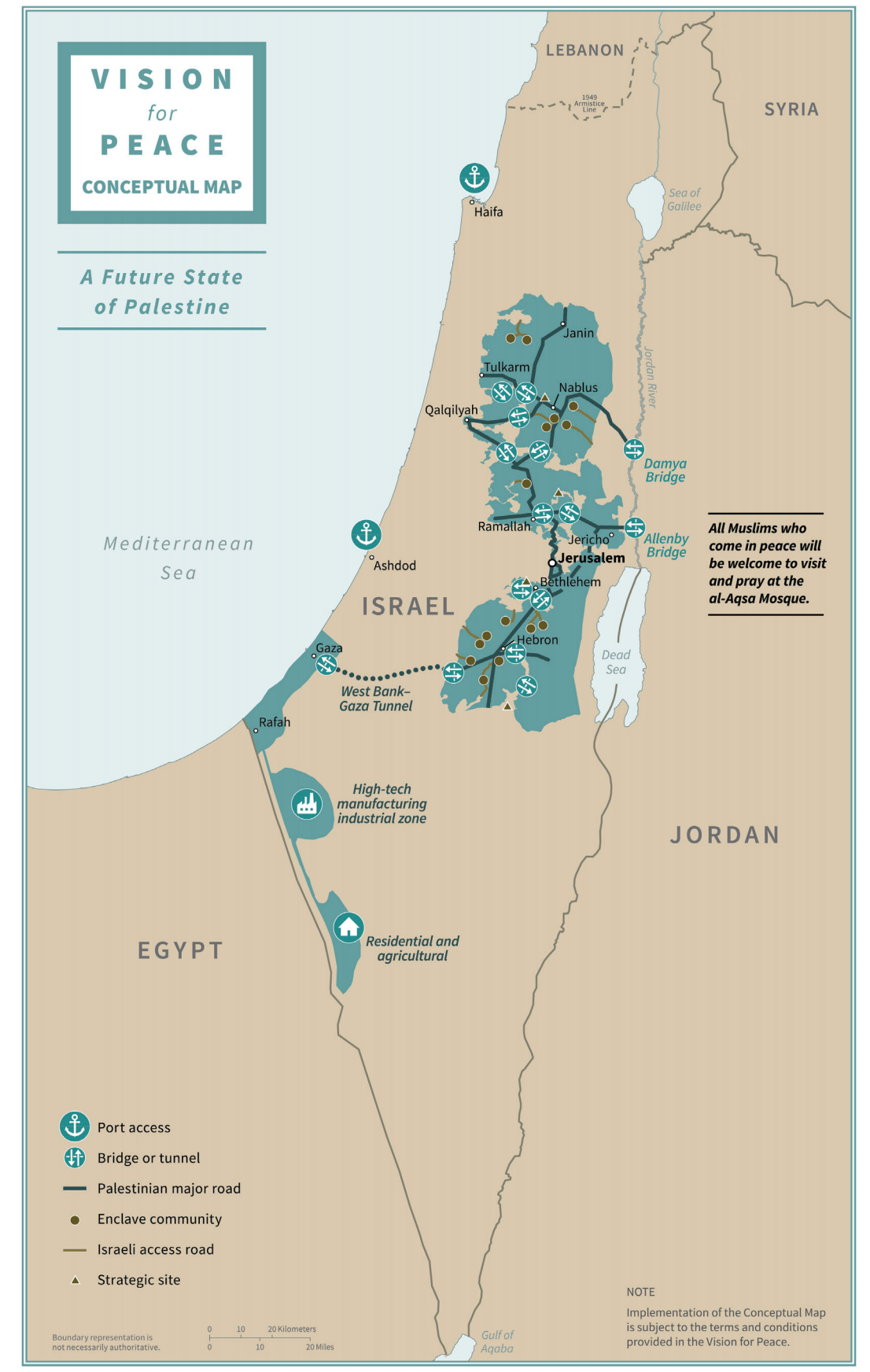 Mappa di un futuro stato palestinese nel piano di amministrazione di Trump.