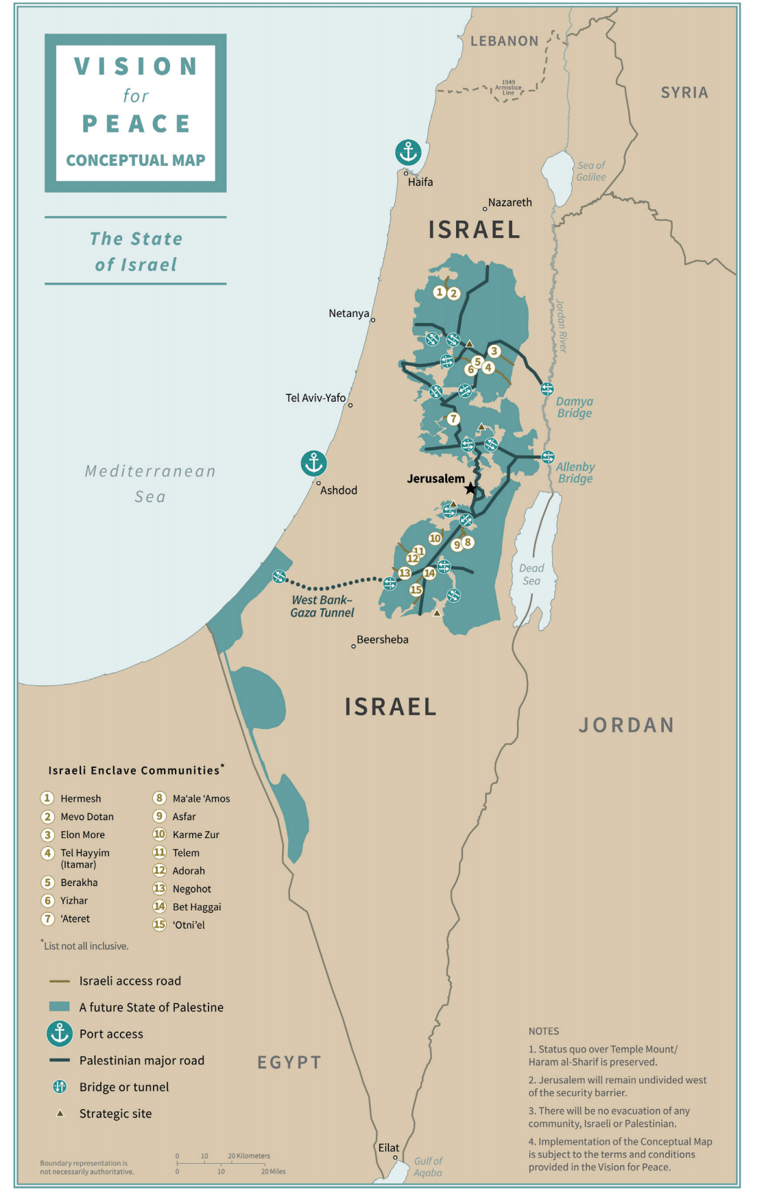 Map of the future Israeli state in the Trump administration plan.