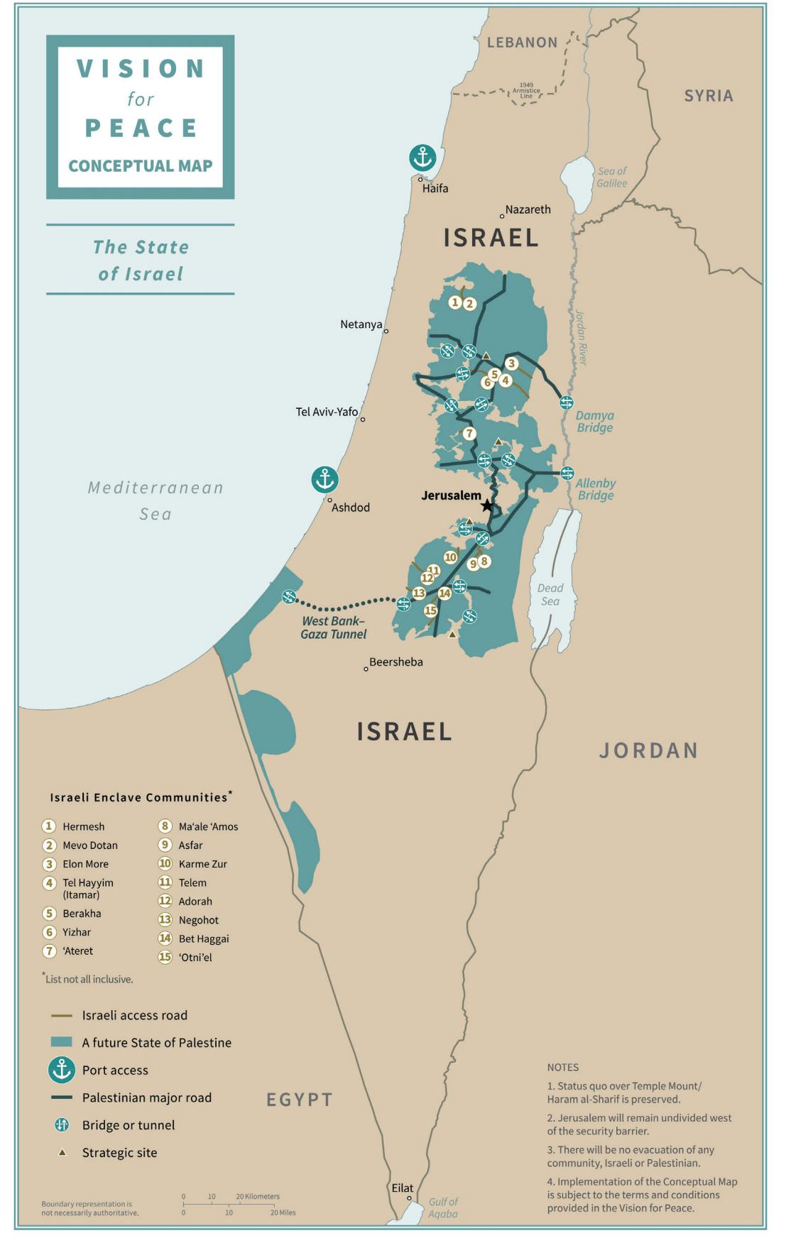 Mappa del futuro stato israeliano nel piano di amministrazione di Trump.
