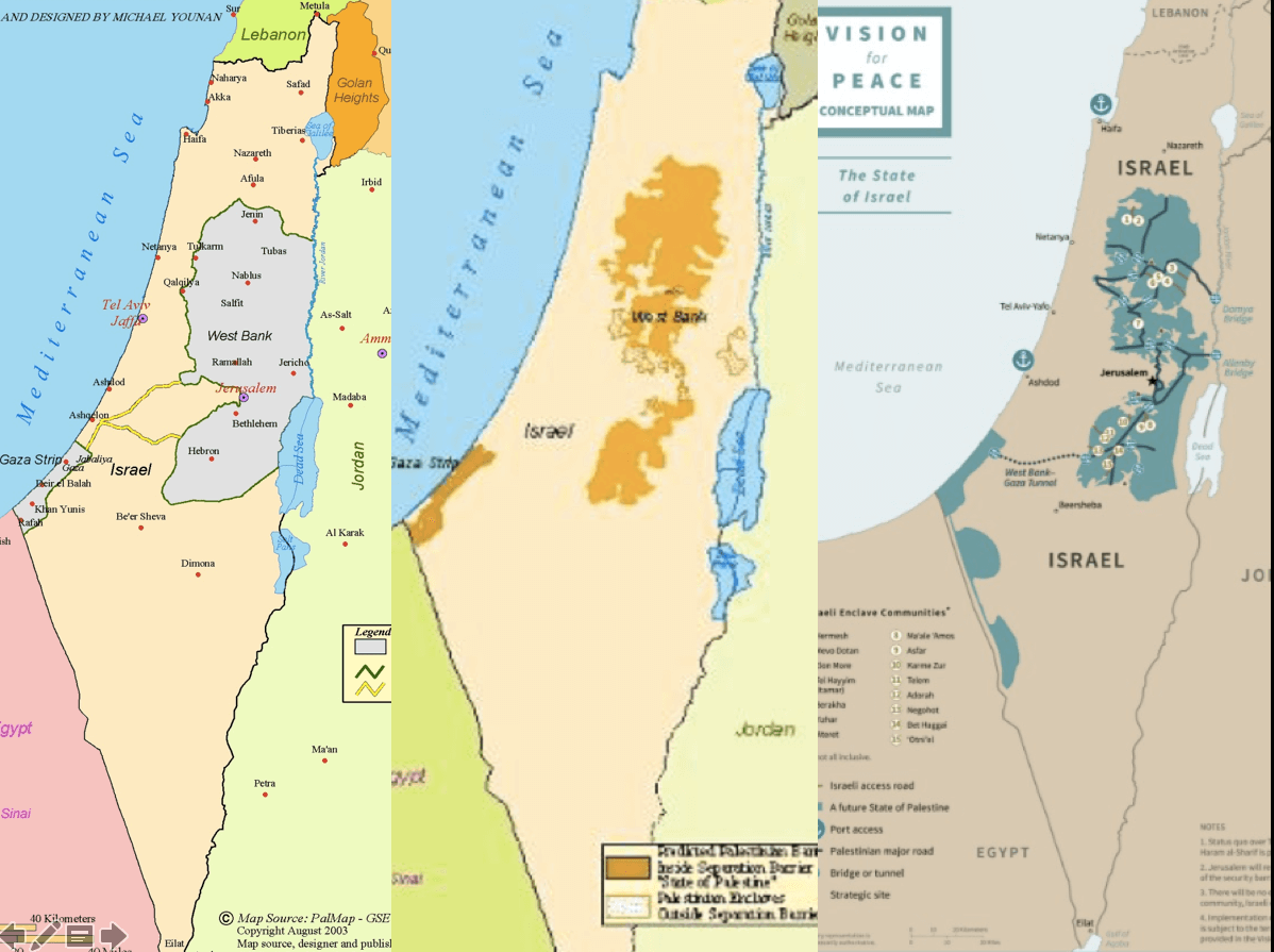 "The ""two-state solution"" on the left, the ICAHD map of 2005 in the center, Trump's Plan on the right."