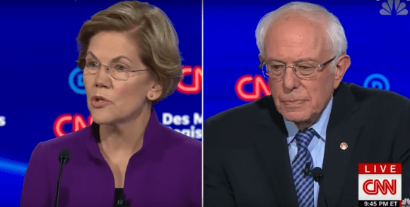 Elizabeth Warren and Bernie Sanders in Jan. 14, 2019. screenshot.