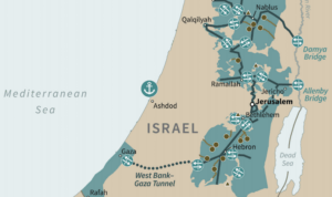 Map of a future Palestinian state in the Trump administration plan.
