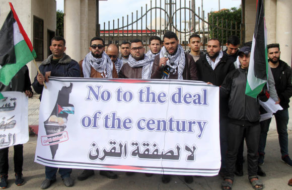 """Palestinians protest against US President Donald Trump's """"Deal of the Century"""" in Gaza City on February 3, 2020. (Photo: Mahmoud Nasser/APA Images)"""