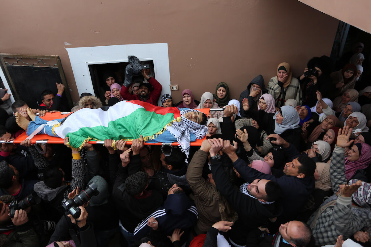 Mourners carry the body of Palestinian Bader Nidal Nafla Harha, 19, who was killed by Israeli soldiers during protests near the village of Qaffin, in the Israeli-occupied West Bank, on February 8, 2020. (Photo: Shadi Jarar'ah/APA Images)
