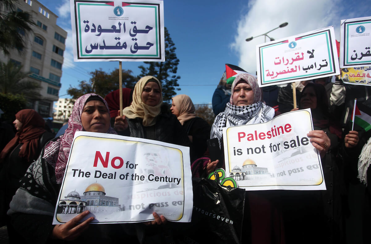 Palestinian women take part in a protest against President Donald Trump's deal of the century, in Gaza City, on February 10, 2020. (Photo: Mahmoud Ajjour/APA Images)