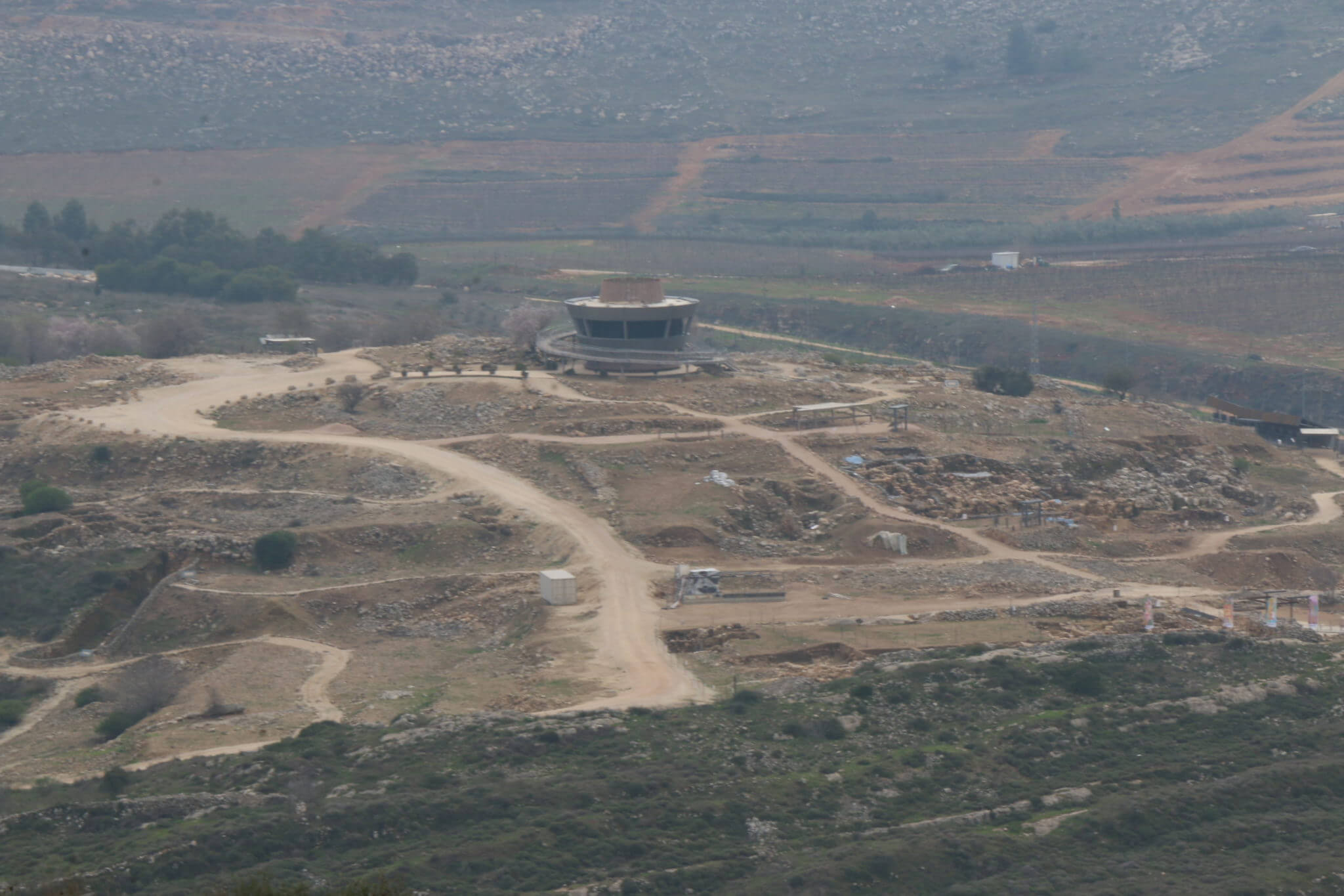 "The view from Qaryut of the construction in the ""ancient Shilo"" Biblical site in the Shilo settlement (Photo: Yumna Patel)"