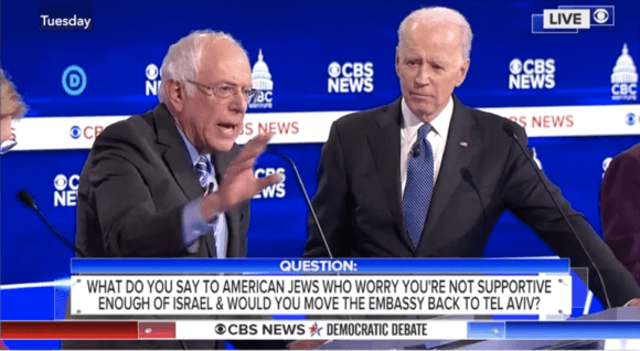 Screenshot of Bernie Sanders answering a question on Israel during a February 25, 2020 debate in South Carolina.