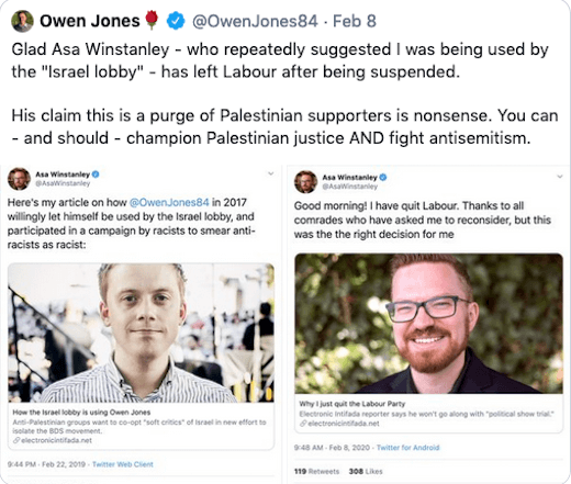 Owen Jones tweet targeting Electronic Intifada's Asa Winstanley