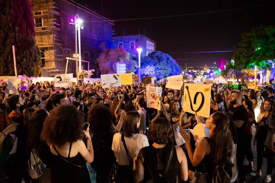 Women in the Tal'at movement protest in Haifa on September 26, 2019. (Photo: Tal'at)