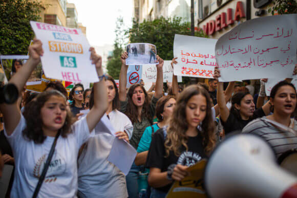 Palestinian women in the Tal'at movement protest in Ramallah on September 26, 2019. (Photo: Tal'at)