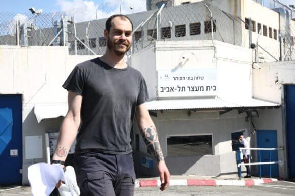 Jonathan Pollak leaving prison on February 20, 2020. (Photo: Oren Ziv / Activestills)
