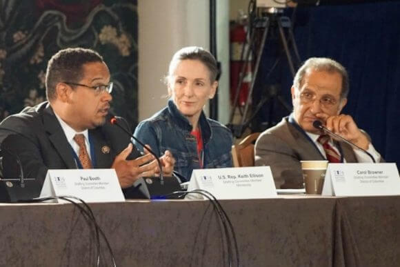Members of the 2016 Democratic party Platform Committee, including (from left to right) U.S. Rep. Keith Ellison (D-Minn.), former White House Energy and Climate Change Policy director Carol Browner, and Arab American Institute co-founder James Zogby. (Photo: DNCC)