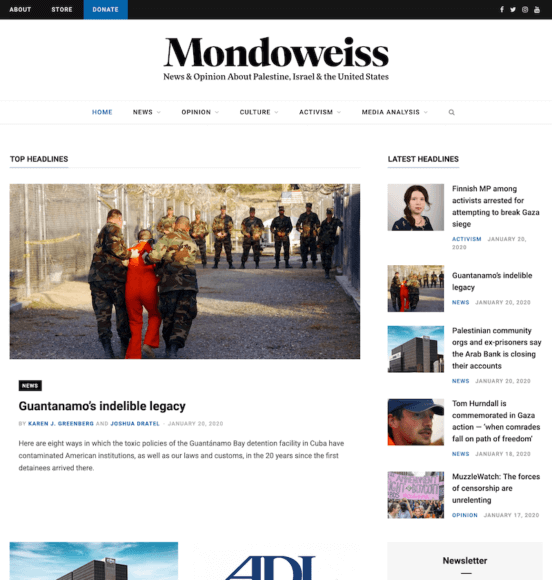 Mondoweiss home page preview