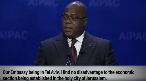 Felix Tshisekedi, president of the Democratic Republic of Congo, addresses the AIPAC Israel lobby conference on March 1, 2020. Screenshot of AIPAC video.