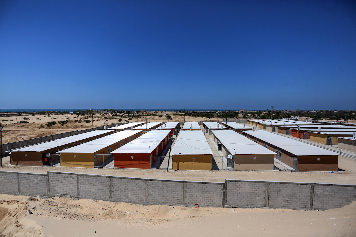 Palestinian workers finish building a quarantine complex to house patients with the coronavirus in Rafah in the southern Gaza Strip on April 12, 2020. (Photo: Ashraf Amra/APA Images)
