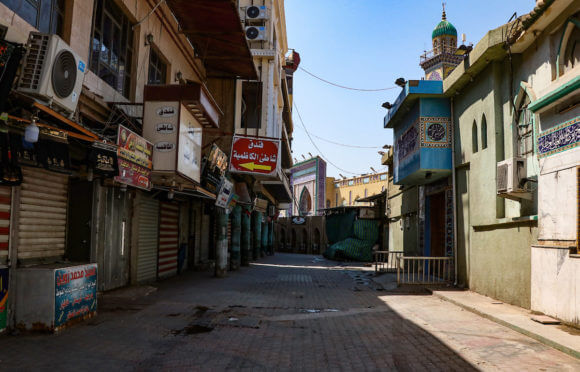 Streets almost deserted during a shelter in place order as a precaution against the spread of the coronavirus in Baghdad, Iraq, on April 19, 2020. (Photo: Anas Jomaa/APA Images)