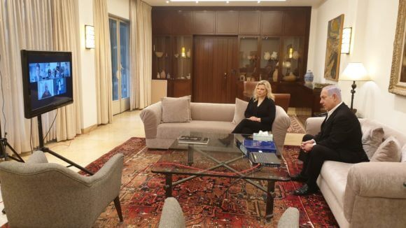 Sara and Benjamin Netanyahu in Prime Minister's residence. From his twitter feed, April 20, 2020.