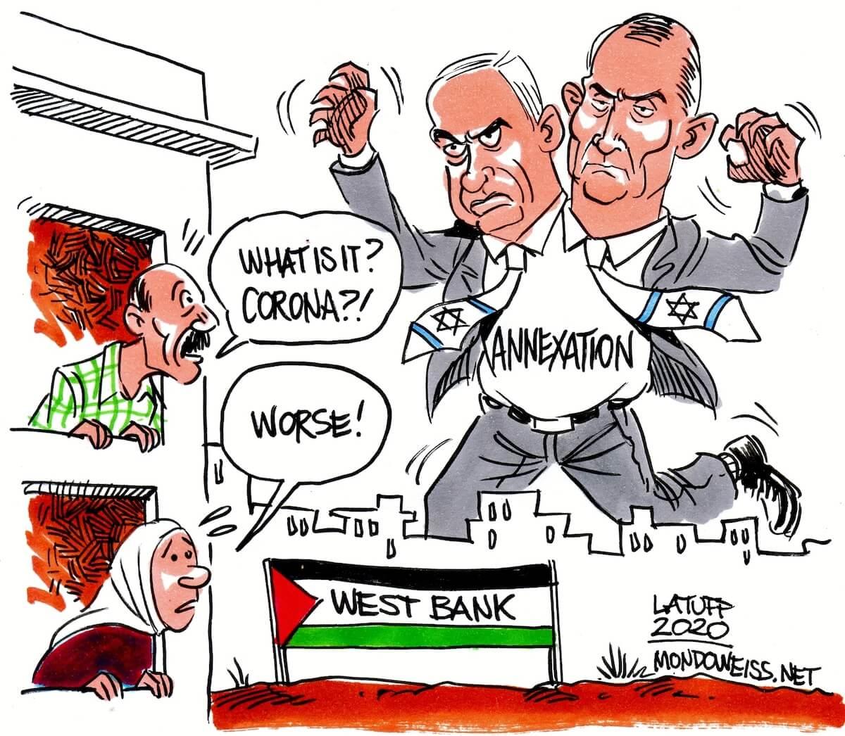 The Netanyahu/Gantz unity government. (Cartoon: Carlos Latuff)