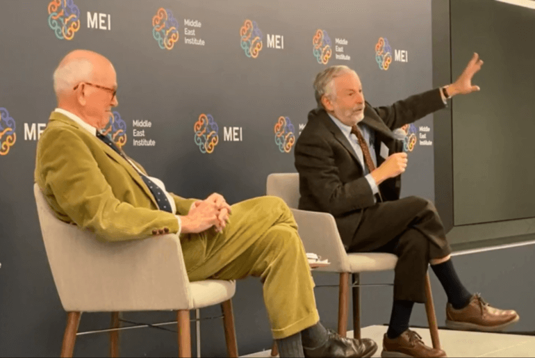 Ian Lustick, right, addressing Middle East Institute in December 2019. Retired ambassador Phil Wilcox is at left.