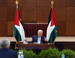Palestinian President Mahmoud Abbas, attends the meeting of the Palestinian leadership, in the West Bank city of Ramallah, on May 19, 2020. (Photo: Thaer Ganaim/APA Images)
